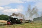 Výletní vlak předpřejezdem sesilnicí I/57 meziLiptaní aTřemešnou