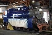 Čerstvě nalakovaná lokomotiva