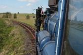 Pohled natrať zmodré lokomotivy