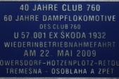Pamětní tabulka Clubu760