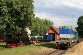 Čtyři zšesti lokomotiv provozovaných pod značkou SZD vTřemešné veSlezsku
