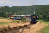 Lokomotiva U57.001 zdolává táhlé stoupání 25‰ meziDívčím Hradem aLiptaní
