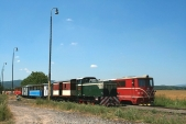Vyletní vlak SZD předjížděn pravidelným vlakem ČD veSlezských Rudolticích