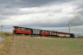 Parní vlak SZD plný návštěvníků směřujících naMartinské hody doBohušova klesá doLiptaně