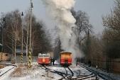 Stanice Třemešná veSlezsku sposunující parní lokomotivou