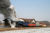 Parní vlak nasvé zpáteční cestě vBohušově