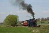 Parní vlak slokomotivou U57.001 opouští Osoblahu