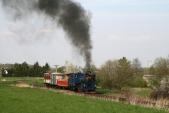 Parní vlak SZD slokomotivou U57.001 zaLiptaní