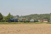 Parní vlak SZD nasvé zpáteční cestě vjíždí doBohušova