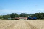 Parní vlak zazastávkou Dívčí Hrad. Stejnojmenný zámek můžeme vidět mezistromy naddruhým vozem.