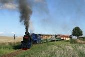 Vlak SZD opuští Dívčí Hrad, parní lokomotiva má řádně naloženo, čeká ji táhlé stoupání doLiptaně