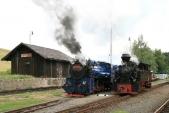 Během ranního posunu vTřemešné se naskytla možnost společné fotografie obou parních lokomotiv. Pozn.fotografa: Slunce zalezlo přesně 10s předtím, nežse lokomotivy postavily dotéto pozice...