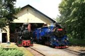 Parní lokomotivy SZD U46.002 aU57.001 připrovozním ošetření předvýtopnou vOsoblaze