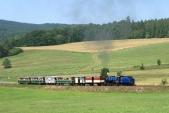 Parní vlak včele slokomotivou U57.001 stoupá kvrcholovému bodu mezi Třemešnou veSlezsku aLiptaní