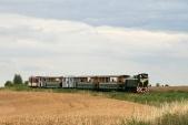 Lokomotoviva TU38.001 svýletním vlakem SZD přijíždí vnedělním odpoledni kzastávce Dívčí Hrad