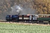 Lokomotiva U57.001 odjíždí zeSlezských Rudoltic svlakem plným návštěvníků zamartinskou husou doBohušova