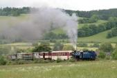 Poprvé v roce 2013 stoupá lokomotiva U57.001 k přejezdu u obce Třemešná, tentokrát se svým pohádkovým vlakem