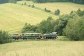 Zelená lokomotiva a zelené vagónky v zajetí zeleně v nejmenším oblouku na trati, mezi Liptaní a Třemešnou, 14.6.2013