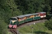 Nejmenší oblouk na trati s motorovým vlakem SZD v čele s lokomotivou TU38.001, 20.6.2013