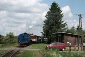 Zastávka Amalín s parní lokomotivou U57.001