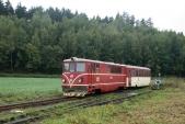 Vlak ČD s lokomotivou 705 914 vjíždí do Bohušova