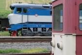 Nezvyklá kombinace historické lokomotivy T478.1002 s úzkorozchodným vozem Balm/ú v Třemešné ve Slezsku, 6.7.2013