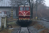 705 916 připravená na transportním voze v Třemešné ve Slezsku na svou cestu do Lužné u Rakovníka, 20.1.2014
