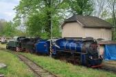 Všechny tři lokomotivy Slezských zemských drah (TU38.001, U46.002, U57.001) zachycené před depem v Třemešné ve Slezsku