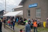 Stánek Osoblažského cechu s občerstvením na nádraží v Osoblaze