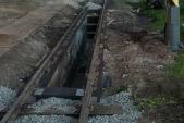 Kanál před dokončením. Stěny jsou opravené a nové kolejivo položené, 21.5.