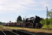 Příjezd parního vlaku do Racławic Śląskich.