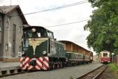 Stanice Třemešná ve Slezsku a křižování vlaků s lokomotivami TU38.001 a 705 913