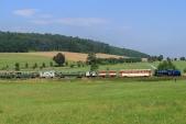 Parní vlak SZD v jednom z největších stoupání na trati mezi Třemešnou a Liptaní.