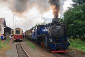 Nezvyklé křižování parního vlaku SZD s osobním vlakem ČD v Liptani.