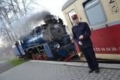 Prezidentský vlak je připraven u nástupiště stanice Třemešná ve Slezsku.