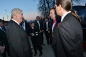 Prezident České republiky Miloš Zeman je v Třemešné uvítán starostou obce Třemešná Rostislavem Kociánem a zástupcem Slezských zemských drah Pavlem Schreierem.