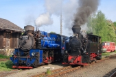 V dopolední májovém slunci v Třemešné zapózovaly vedle sebe parní lokomotivy U57.001 a U46.002.