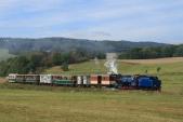 Parní vlak v čele s Malým štokrem U57.001 stoupá mezi Třemešnou a Liptaní