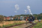 Vjezd parního vlaku na manipulační kolej do Slezských Rudoltic