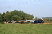 Parní vlak zvěčněn kousek za známým nejmenším obloukem mezi Liptaní a Třemešnou