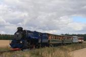 """Parní vlak s """"Malým štokrem"""" v čele mezi Kobernem a Slezskými Rudolticemi."""