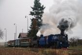 Odjezd martinského parního vlaku ze Slezských Rudoltic do Třemešné.