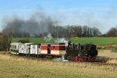 Mikulášský parní vlak s lokomotivou U46.002 mezi Horními Povelicemi a Amalínem.
