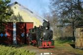 """Parní lokomotiva """"Rešica"""" U46.002 odpočívá v Osoblažském depu před zpáteční cestou do Třemešné."""