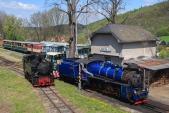 Všechny tři lokomotivy Slezských zemských drah připravené na slavnostní zahájení sezóny před depem v Třemešné.