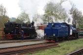 Posun v Třemešné v režiji parních lokomotiv U57.001 a U46.002.