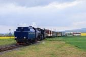 Slavnostní parní vlak vjíždí do Slezských Rudoltic.