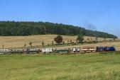 Malý Štokr táhne svůj sobotní vlak, posílen ještě o jeden vagón, do největšího stoupání na trati, mezi Třemešnou a Liptaní.