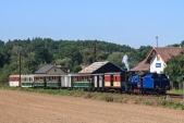 Stanice Bohušov s parním vlakem SZD.