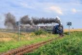 Parní vlak sjíždí do zastávky Dívčí Hrad.